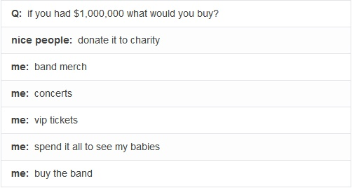 Bad Things, Band, Accurate, Direction Infection, Buy, Yeahhhhhh Pretty, One Direction, Donation, Charity