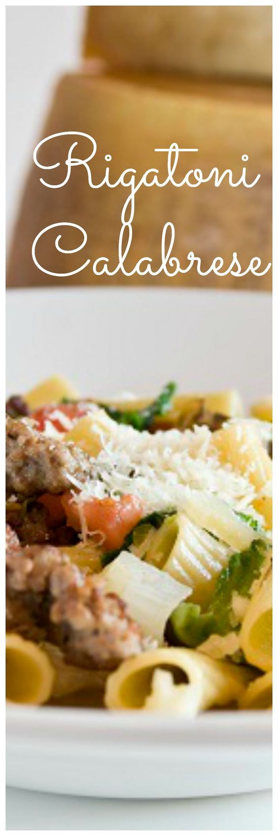 With sausage, escarole, kalamata olives, tomatoes and  mushrooms, this rigatoni calabrese pasta is the perfect complete weeknight meal!  Recipe from Portobello Restaurant at Downtown Disney.