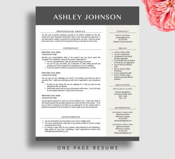 one page resume format word template free templates theme wordpress 1 in