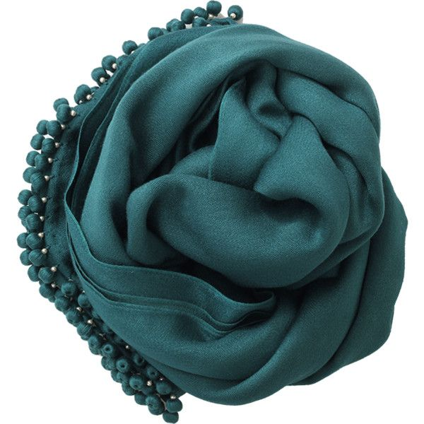 Bajra Shawls Scarf With Ball Fringe (25.705 RUB) ❤ liked on Polyvore featuring accessories, scarves, bajra, fringe scarves, green scarves, fringed shawls and viscose scarves
