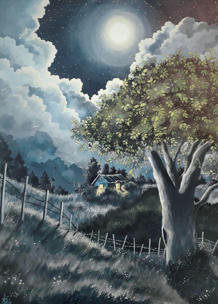 Faith2 Tree Night Moonlight Grassland Hut Painting Easy Landscape Paintings Landscape Paintings Mountain Paintings