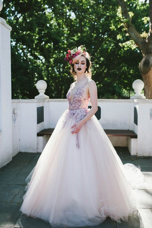Full ball gown wedding dress with floral appliques in mauve. VALENTINA - Dress by Janita Toerien - Photo by Claire Thomson - www.janitatoerien.co.za