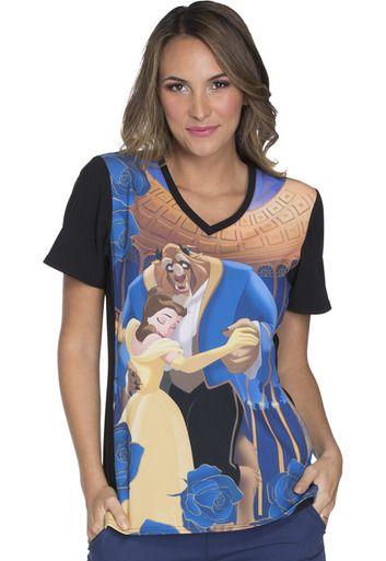 8eed485b43e Beauty and The Beast Scrub Top For Women | cute | Scrubs uniform ...