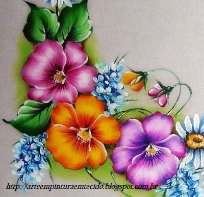 Tablecloth Fabric Painting Pansy