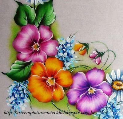 Toalha de mesa pintura em tecido amor perfeito - Pintura em Tecido Passo a Passo Com Fotos