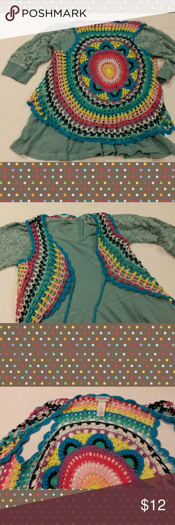 CUTE MULTICOLOR JUSTICE CROCHET VEST Love this adorable crochet piece for a fashionable gal! It's so versatile, it can be worked into her wardrobe all year long. Ties in front, or leave open. Loose n comfy! Justice  Shirts & Tops Sweaters