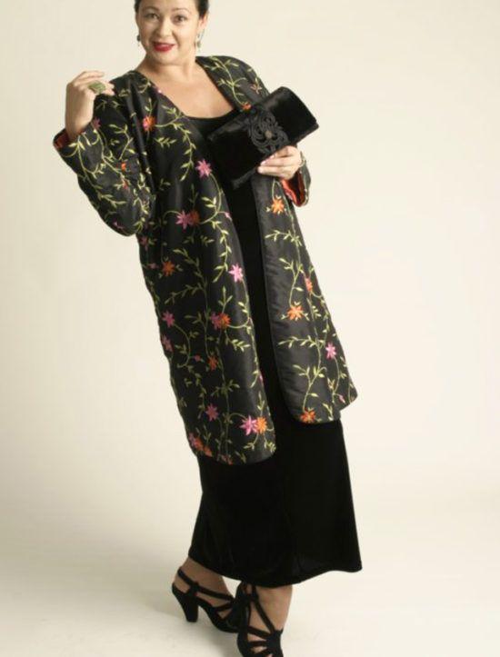 a9f602a4d44 Plus Size Designer Dressy Kimono Jacket Black Grey Silk Sizes 14-32 ...