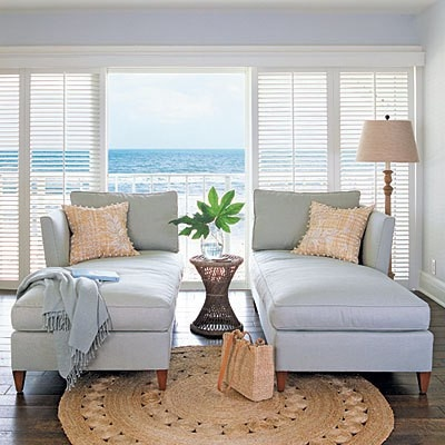 Duel chaise in soft blue accented with natural toned pillows rug and l& shade. : cut to the chaise - Sectionals, Sofas & Couches