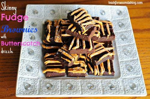 Skinny Fudge Brownies with Butterscotch Drizzle #chocolate #healthy #skinny #dessert #brownies #healthy