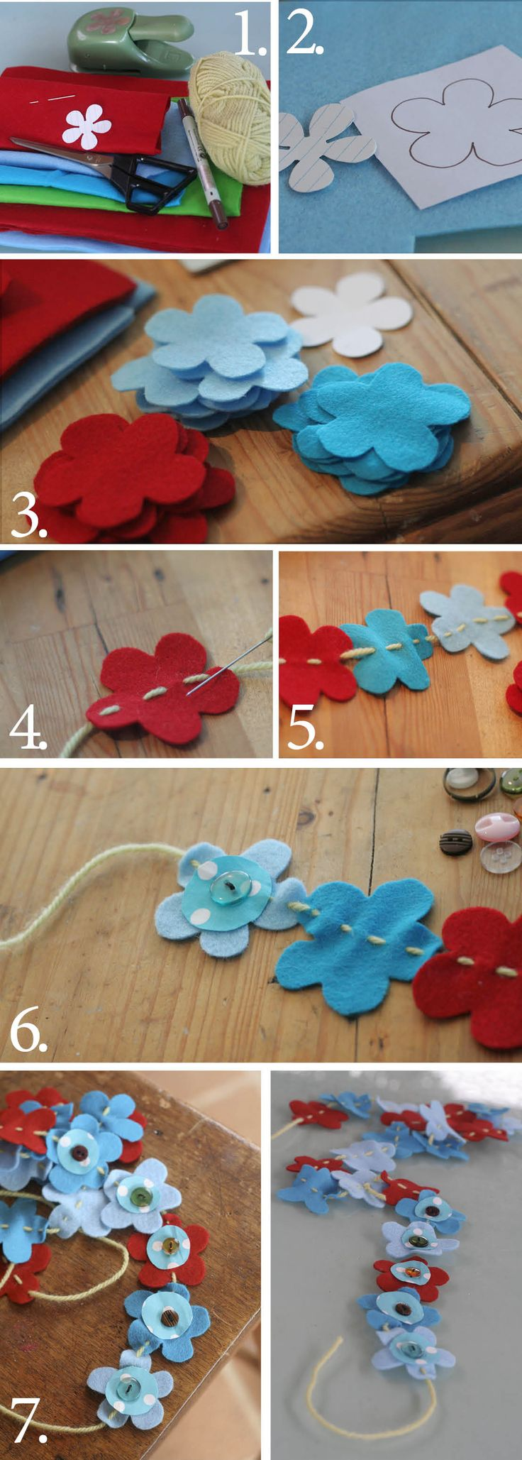 flower bunting- so cute! could hang atop a mirror in a little girls room or across a door frame.... :)