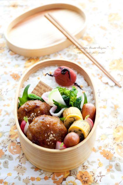 ・白菜の豚肉巻き ・わかめと白だしの玉子焼き ・塩もみラディッシュ ・菜の花とかまぼこの塩ポン和え ・ウインナーのソテー ・紫蘇漬梅干しと白ご飯