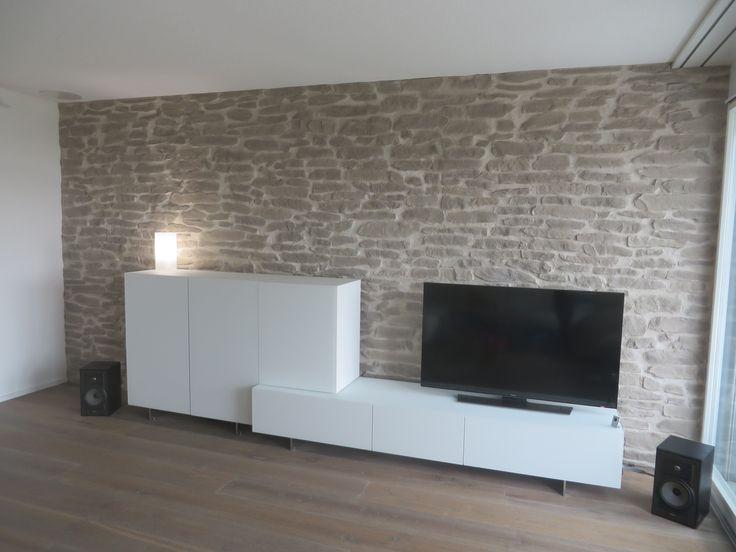 Wohnzimmerwand Steinoptik Lajas