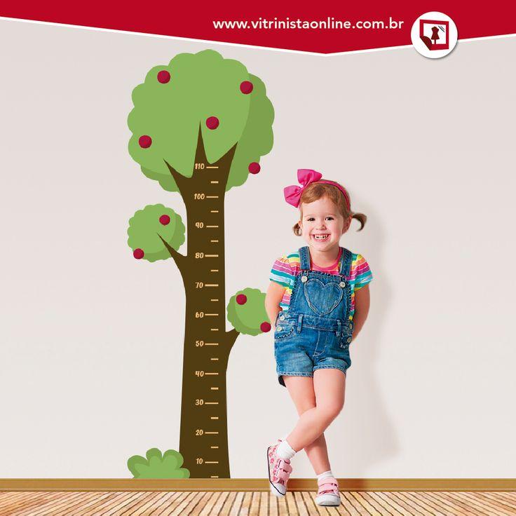 """Nossa """"régua de crescimento infantil"""" é perfeita para lojas que vendem produtos para crianças! Você pode aplicá-la na parede (superfície lisa, sem porosidade), no espelho ou vidro."""