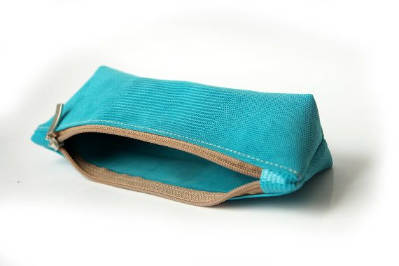 Handmade Leather Pencil Case Pen Bag Blue leather by PansyBag