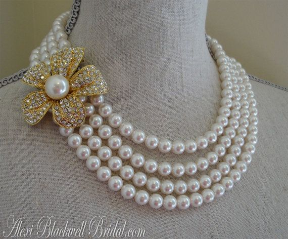 Gold Pearl Brooch Necklace Bridal Set with Earrings  Swarovski Pearls Mother of the Bride Wedding Jewelry by AlexiBlackwellBridal, $135.00