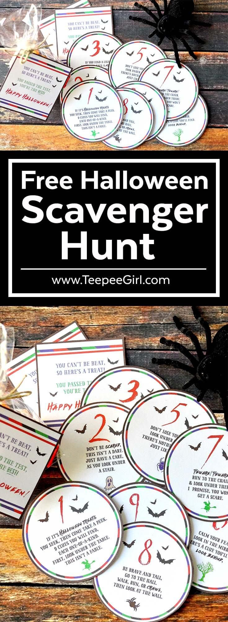 Free Halloween Scavenger Hunt | Perfect Halloween Activity Game for kids! Make this a new Halloween family tradition or class parties! www.TeepeeGirl.com