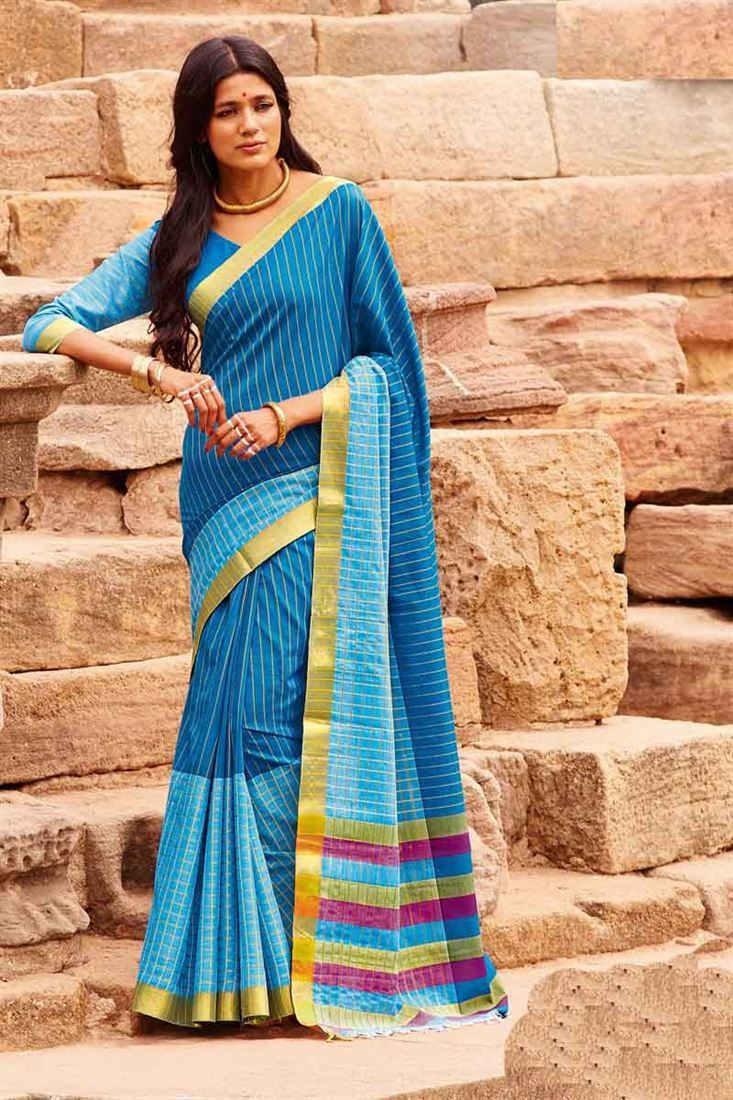 Online Shopping of Casual Printed Sky Blue Cotton Saree-Ishani from SareesBazaar, leading online ethnic clothing store  offering  latest collection of sarees, salwar suits, lehengas & kurtis
