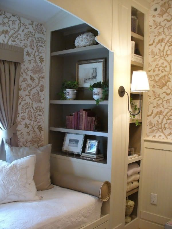 bookshelves to divide master bedroom from master seating area?? great way to break up all of that space in my bedroom