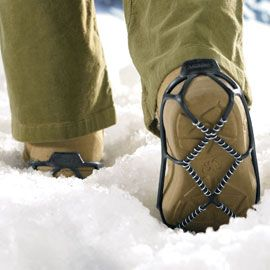 Yaktrax Walker, Shoe Traction Device-Safe traction on snow and ice!  Just slip these stretchy, lightweight bands over your shoes or boots—the patented SkidLock coil system grips packed snow and ice to help prevent a fall when you venture outside onto icy streets and sidewalks. $19.98