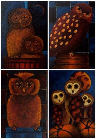 Owls, 2011-2012, acrylic on canvas, Angela Kuckartz
