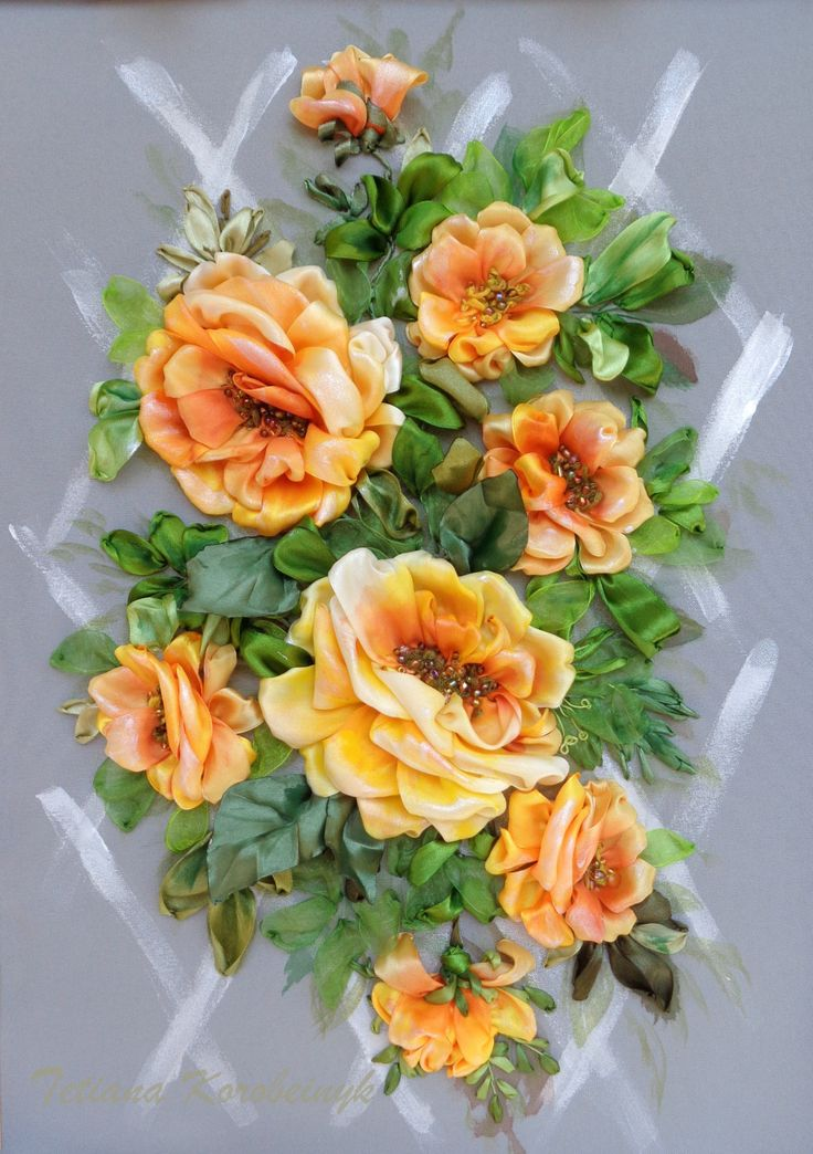 """picture """"Rose richness 2 """", Silk ribbon embroidery, fiori di stoffa, ribbon, roses di SilkRibbonembroidery su Etsy"""