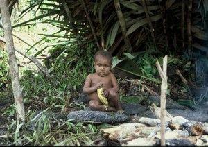 Papuánký kmen Yaliů– nížinné Yaliské dítě sbanánemPhoto©JahodaPetr.cz