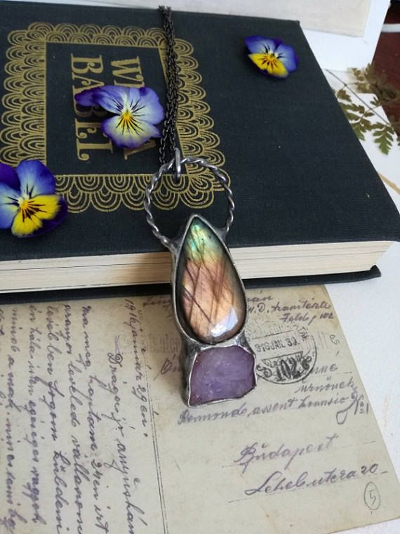 Check out this item in my Etsy shop https://www.etsy.com/listing/492494896/labradorite-necklace-raw-amethyst-boho