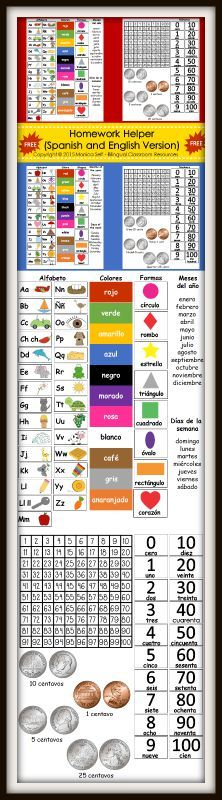 FREE Homework Helper (Spanish and English) is a great reference tool for students. Just print on cardstock, laminate and glue to your homework or parent communication folder.    The following is what is included.  Alphabet  Colors  Shapes  Numbers  Days of the week  Months of the year  Number chart to 100  US Coins names and values
