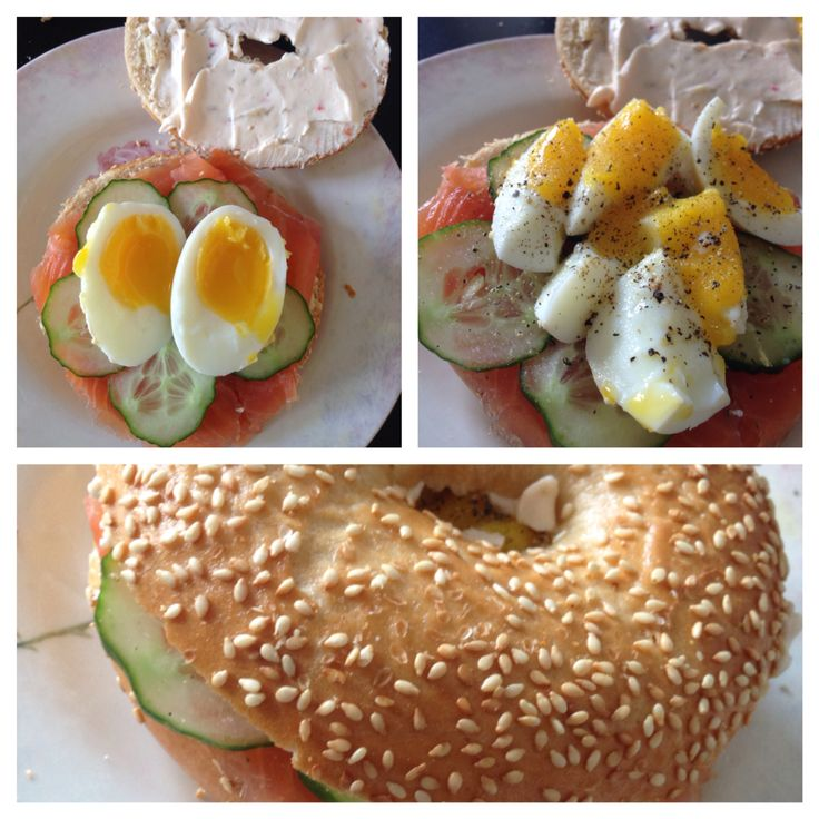Lovely lunch. Bagel with salmon, cucumber, philadelphia red pepper and soft boiled egg