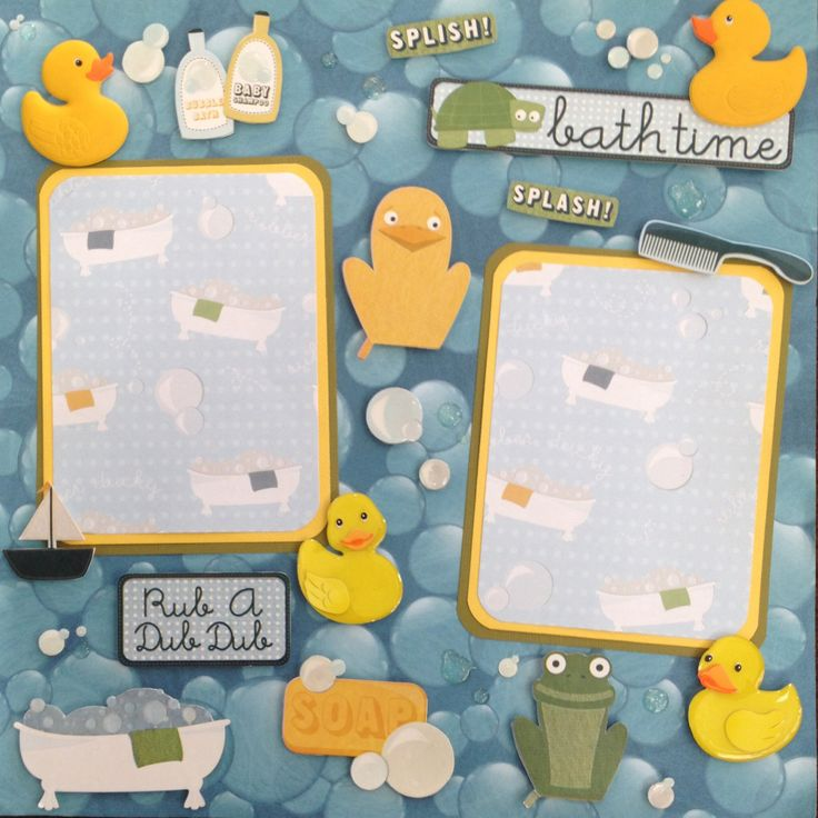 Baby bath time 12 x12 page layout using Karen Foster paper and stickers.