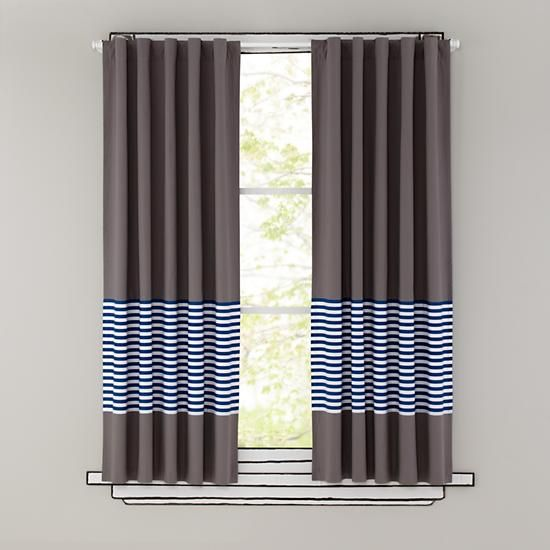 The Land of Nod | New School Curtain Panels (Blue Stripe) in Curtains & Hardwares