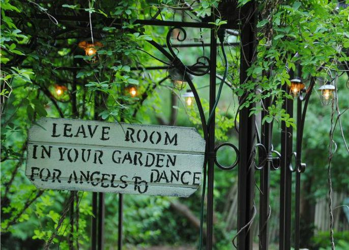 I love this! I've seen a similar sign but it said leave room for fairies to dance - I like the angel wording much better.