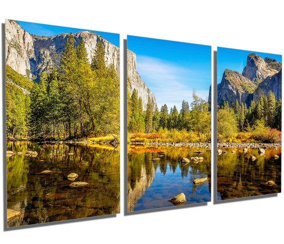 Metal Print Yosemite National Park Wall Art Landscape 3 Etsy In 2020 Canvas Artwork Painting Large Canvas Art Park Landscape