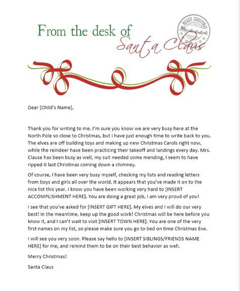 Best  Letter From Santa Template Ideas On   Letter