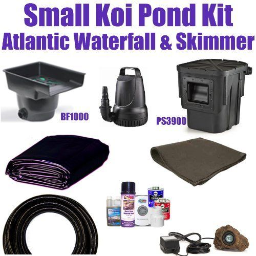 "10 x 10 Small Koi Pond Kit 2,100 GPH Pump Atlantic 14"" Waterfall & Atlantic 6"" Skimmer SA7 by Patriot. $567.50. Liftgate Service is Not Included. Contact Carrier For Liftgate Service Which Is An Additional $85.00. 10 x 10 EPDM LifeGuard Liner (lifetime warranty-25 Years) and 100 Square Feet of Underlayment, Atlantic 14"" Waterfall BF1000 & Atlantic 6"" Skimmer PS3900, & 2,100 GPH Pump. FedEx Ground - Additional Carrier Charges May Apply. 1½"" x 25' Kink Free PVC Hose, (1) 20 Watt..."