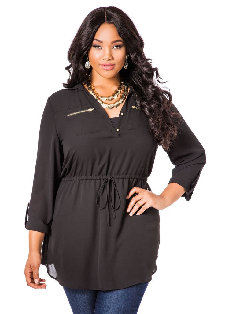 Drawstring Waist Tunic - Ashley Stewart
