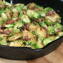 Fried Brussels Sprouts - I would add some minced garlic while sautéing the onion, and leave out the sugar.