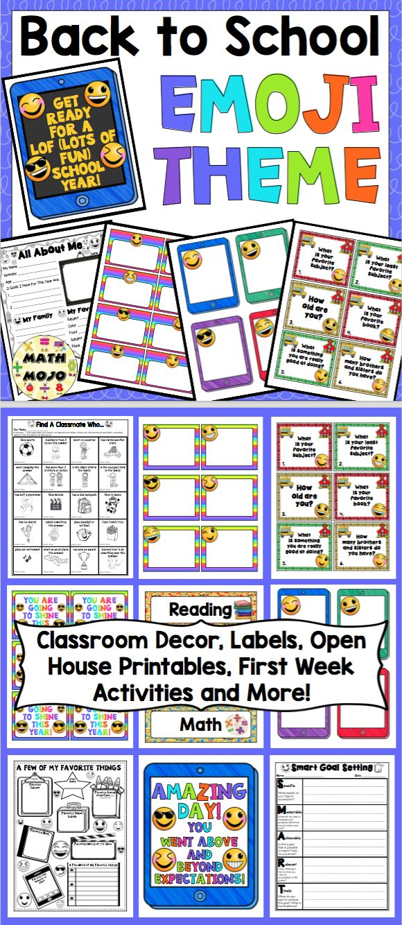Emoji Theme Classroom Pack: This pack includes everything you need for setting up an emoji themed classroom. It is loaded with classroom decor, open house activities, first week activities, and much more! $