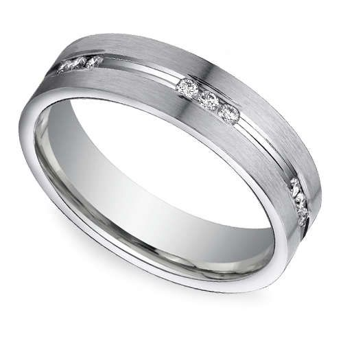 Groom style: Here's a treat for the dapper gentleman with an eye for clean, polished durability and a little bit of sparkle: The Men's Diamond Eternity Band in sleek Platinum! http://www.brilliance.com/wedding-rings/diamond-eternity-mens-band-platinum