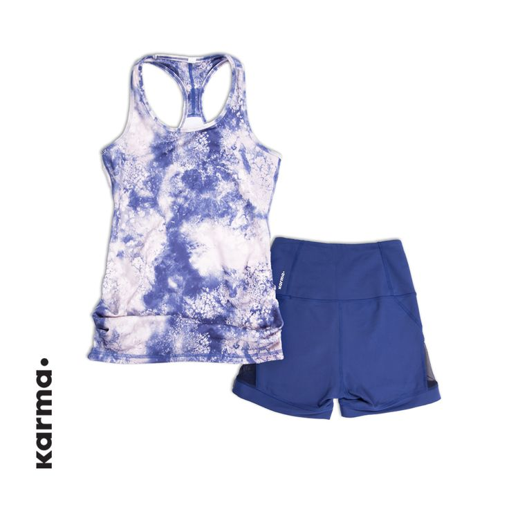 Shown here is the Printed Racerback II. Get it here: http://karmaathletics.com/collections/all/products/printed-racerback-ii?variant=6883509060 And the Erica Short. Get them here: http://karmaathletics.com/collections/all/products/erica-short?variant=6135336196