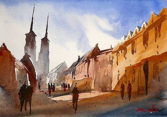 Rafal Rudko. Работы акварелью. Wrocław II. 21х30