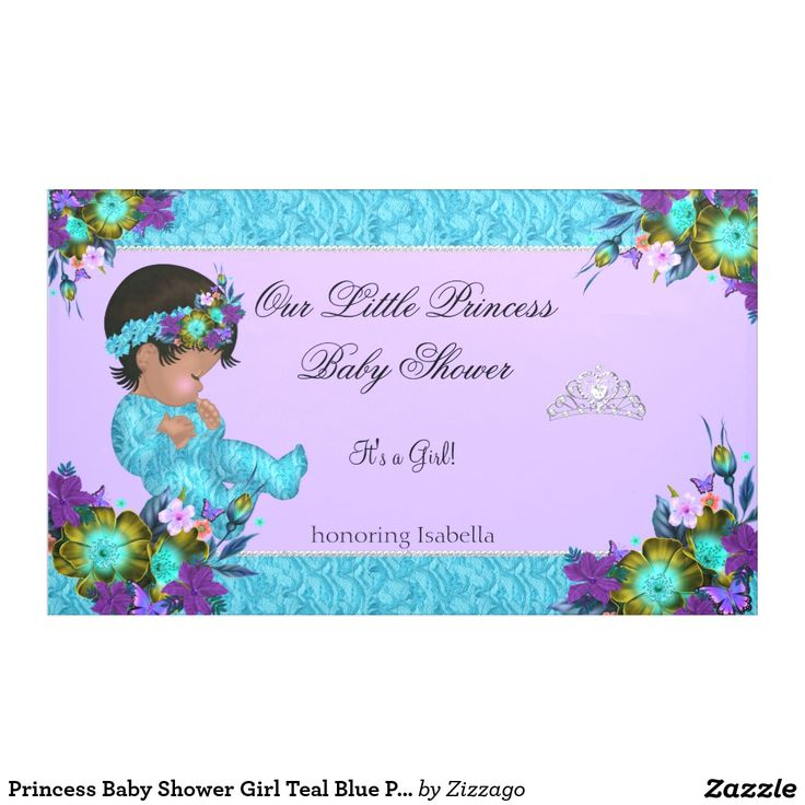 Princess Baby Shower Girl Teal Blue Purple Ethnic Banner
