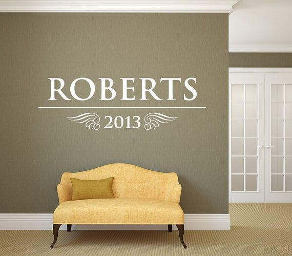 family name wall decal monogram 17 living and family room vinyl wall decal graphics