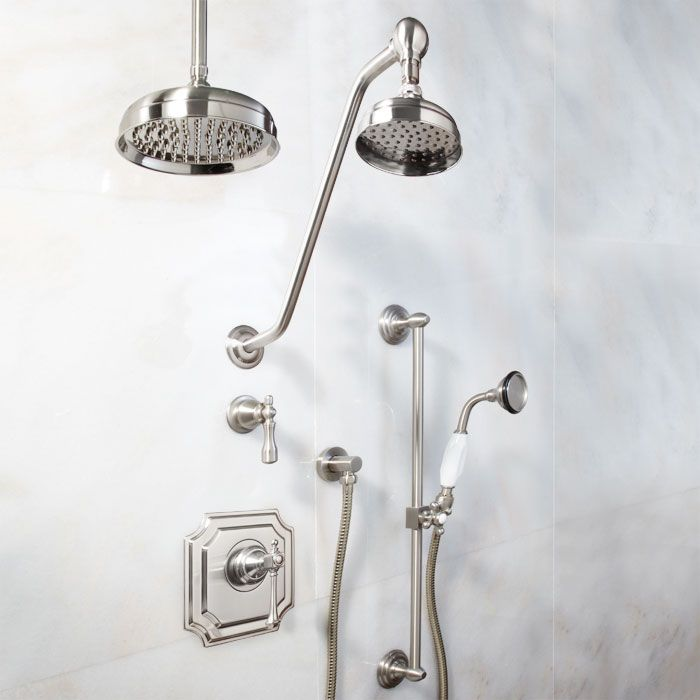 Vintage Pressure Balance Shower System - Dual Shower Heads and Hand Shower - Lever Handle