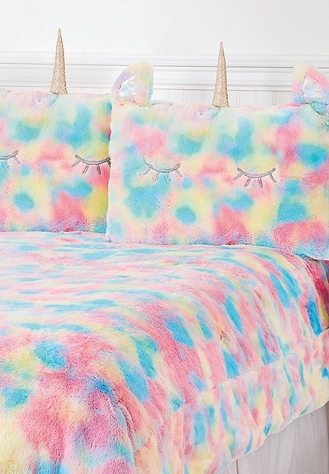 Unicorn Rainbow Faux Fur Comforter Set Queen Full Sizes