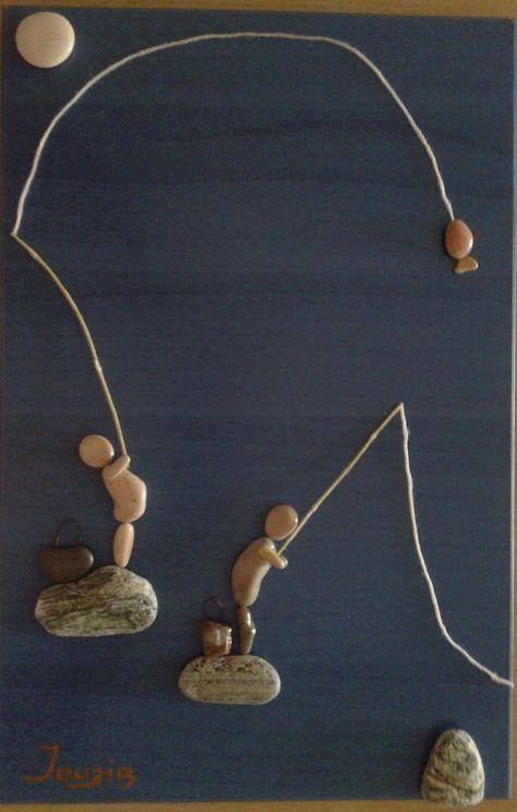 Articles similaires à 30 x 46 cm, «Les pêcheurs» galet art Unique Wall A…