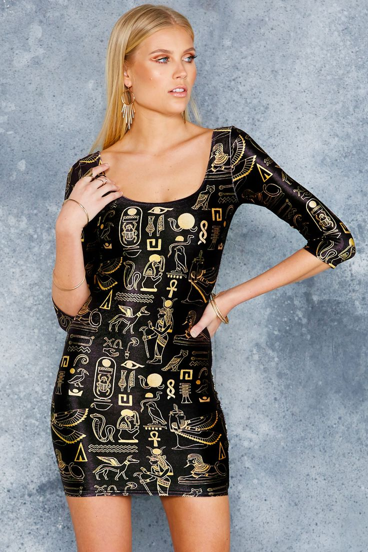 Hieroglyphics Gold 3/4 Sleeve Velvet Dress - 48HR ($99AUD) by BlackMilk Clothing