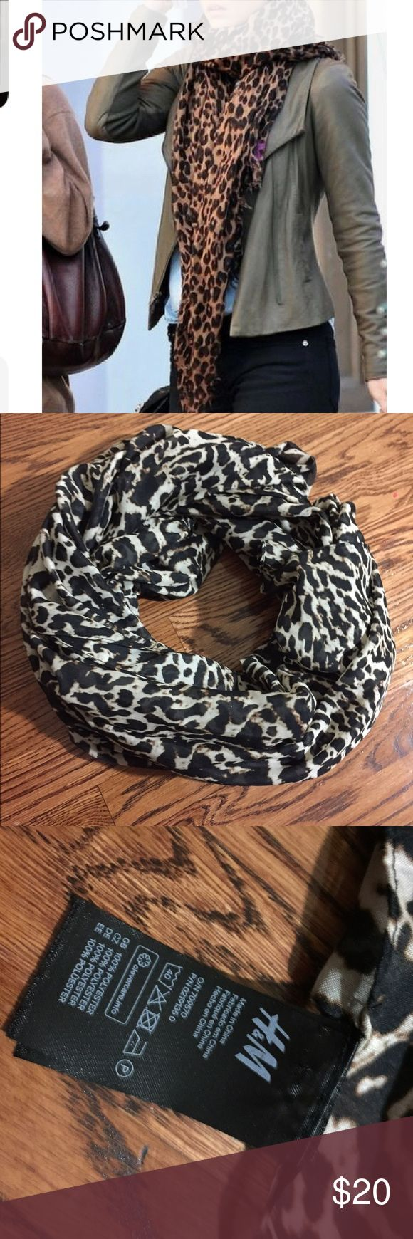 Cheetah scarf Beautiful new H&M scarf. Not an infinity scarf. Details in pictures. Questions , ask below.  🚫NO TRADES 🚫NO HOLDS 🚫NO NEGATIVITY 🚫🚫NO LOW BLOWS, will be DECLINED H&M Accessories Scarves & Wraps