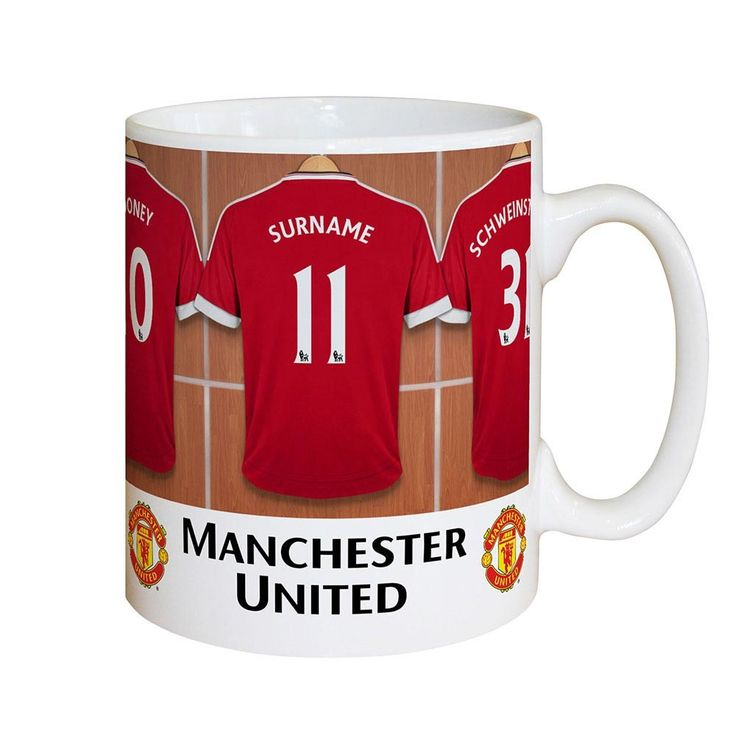Personalise this fully licensed Manchester United FC mug with your selected surname of up to 12 characters and any number up to 3 digits onto the centre shirt.   The mug itself is printed and decorated with a high quality glossy finish!  Team mates are - Pogba 6, Rooney 10, Ibrahimovic 9, Martial 11  Official Manchester United Licensed Product.  Players and managers' names will be modified on this product to reflect any changes.  What's more, this fantastic gift can also be made and…