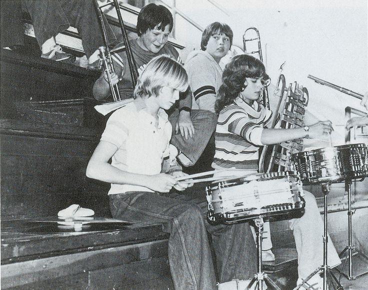 8th grader Kurt Cobain playing drums at an assembly at Montesano High School 1981